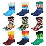 Welen 6 Packs Men Color Dress Socks Funny Colorful Rainbow Argyle High Fun Sock (Set 1)