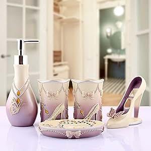Kerchair Lady High Heel Girl 5 Piece Bathroom Accessory Set Loti