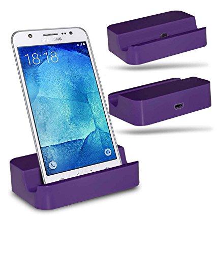 Samsung Galaxy J7 SM-J700F Station d'accueil de bureau avec chargeur Micro USB support de chargement - Purple - By Gadget Giant®
