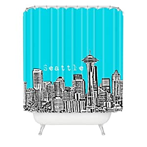 DENY Designs Bird Ave Seattle Teal Shower Curtain, 69 by 72-Inch