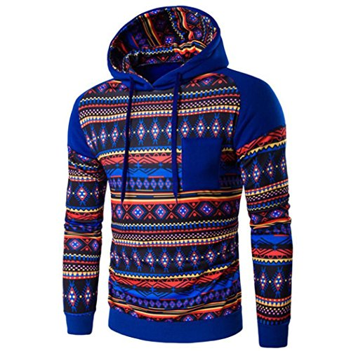 con cappuccio da uomo, FEITONG Boemia retrò manica lunga con cappuccio Top felpa giacca cappotto outwear (M, Blu)