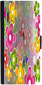 Snoogg Multicolored Daisies And Butterflies 2663 Designer Protective Phone Flip Case Cover For Xiaomi Mi 4