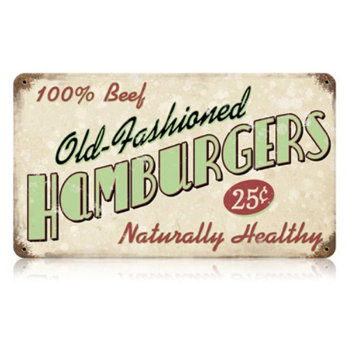 Old Fashioned Hamburgers Food and Drink Vintage Metal Sign - Victory Vintage Signs