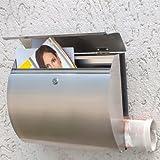Boîte aux lettres en acier inoxydable avec compartiment journaux journal 31 x 38 x 14 cm Revêtement protecteur-verni transparent