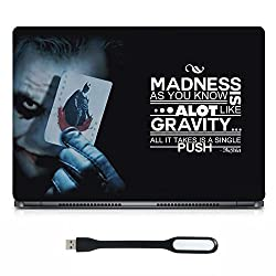 Inktree Vinyl Madness Matte Finish Adhesive Laptop Skin (15 inch x 10 inch, Mulicolor) FREE LED Laptop light (color may vary)