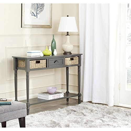 Safavieh Happy Mess Winifred Wicker Console Table with Storage, Grey (Wicker Console compare prices)