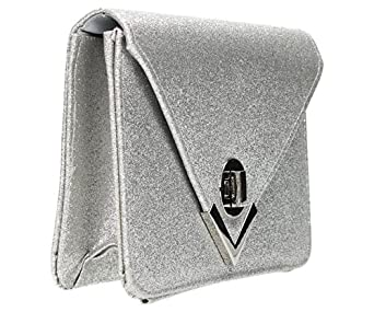 Mila Envelope Sparkle Style Clutch Bag in Silver