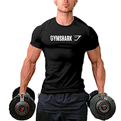 Men's Bodybuilding Muscle Slim Training Short Sleeve T-shirts Black M