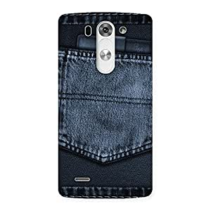 Premium Navy Jeans Pocket Back Case Cover for LG G3 Beat