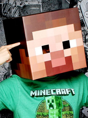 Minecraft Steve Head Cardboard Costume Mask