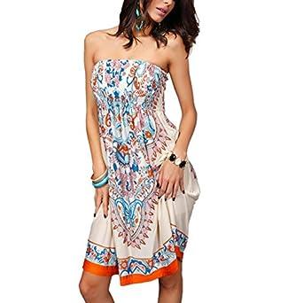 TopTie Women's Strapless Sun Dress, Printed Summer Dresses | Amazon