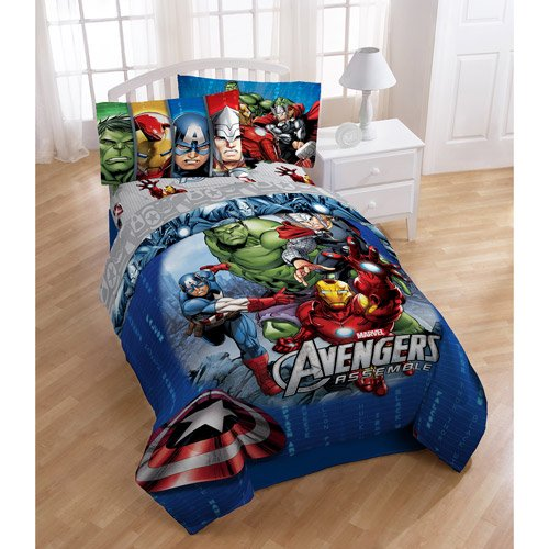 Marvel Avengers Assemble 4pc Twin Bedding Comforter & Sheet Set