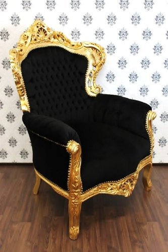 Baroque Chair King Black / Gold - Antique Furniture