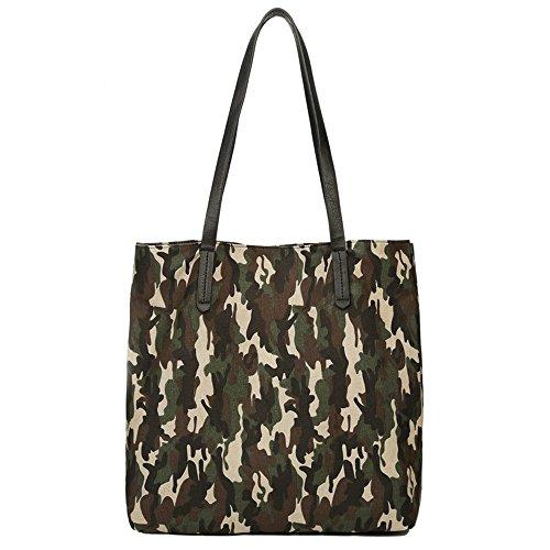 Wewod buona qualità tela Shopper Borsa da donna Shopping Bag Large borsa a tracolla college Bag per studenti-Camouflage (40* 15* 37cm), Tela, Green, 15.751Zoll)*14.56(Zoll)*5.9 Zoll(L*H*W)