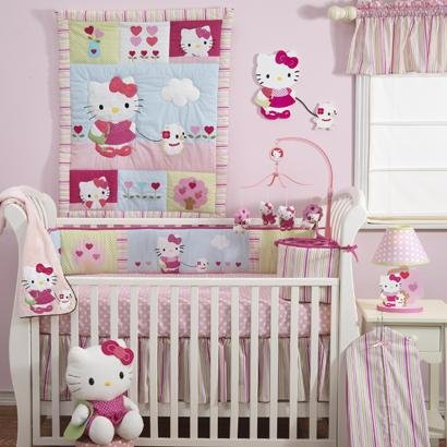 Bedtime Originals Hello Kitty And Puppy Diaper Stacker - Pink front-3183