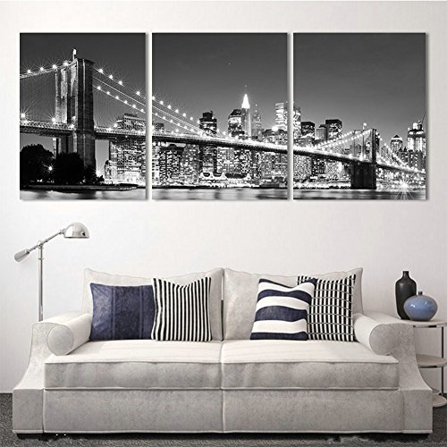 H.COZY 3 Piece Modern wall Painting New York Brooklyn bridge Home Decorative Art Picture Paint on Canvas Prints (No Frame) Unframed FCR32 36 inch x16 inch (Paint New York compare prices)