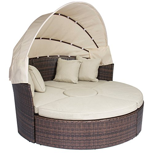 Radeway® Patio Furniture Wicker Rattan Outdoor Daybeds With Canopy W/ Ottoman Sand Cushions