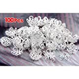 Bead Spacer - TOOGOO(R) 100 x 10 mm Metal Bead Spacer Silver Plated Spacer Beads