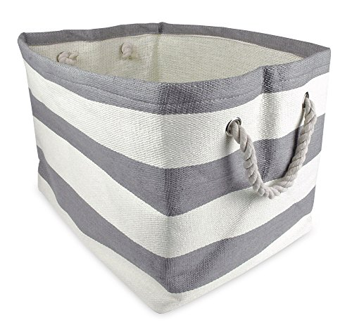 "DII Home Essentials Woven Paper, Collapsible, Convenient Storage Bin For Office, Bedroom, Closet, Toys, Laundry - Small (10.25"" Long x 11"" Wide x 9.25"" High) in Gray Rugby Stripe - 1"