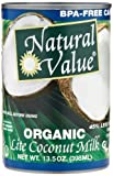 Natural Value Organic Coconut Milk Lite, 13.5-Ounce Cans (Pack of 12)