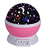 Discoball® Cute Starry Night Light Lamp, Romantic Cosmos Starlight Desk Lighting Projector for Baby Nursery Bedroom Children Room Decoration and Birthday Christmas Gift [Moon Star Dreamer Sky] (Pink)