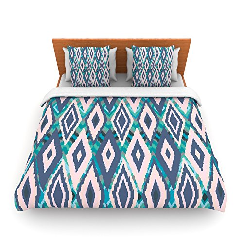 "Kess Inhouse Nika Martinez ""Tribal Ikat"" Blue Pattern King Fleece Duvet Cover, 104 By 88-Inch front-956331"