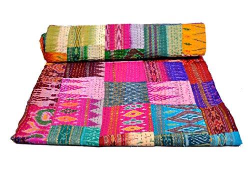 Rawyal Funda de edredón para cama de matrimonio seda diseño de Sari indio Reversible Kantha Patola parche hecho a mano