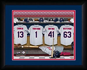 MLB Personalized Locker Room Print Black Frame Customized Cleveland Indians by You