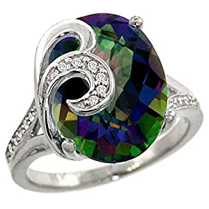 14k White Gold Natural Mystic Topaz Ring 16x12 mm Oval Shape Diamond Accent, 5/8 inch wide, size 8