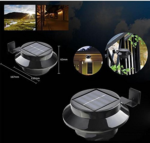 Dbpower Bright 3-Led Solar Powered Energy Saving Outdoor Light All-Weather Lamp For Garden Landscape Yard Fence Gutter Roof Wall Door Gate Pathway Lobby Driveway Backyard Lighting - Black