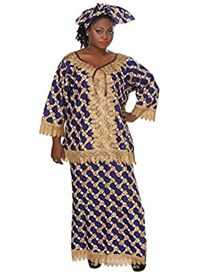 African Planet Women's Tanzania Inspired Wax Set Queen Inspired Maxi One Size