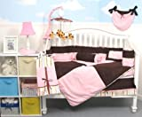 Boutique Pink & Brown Suede 10pcs Baby Crib Bedding Set