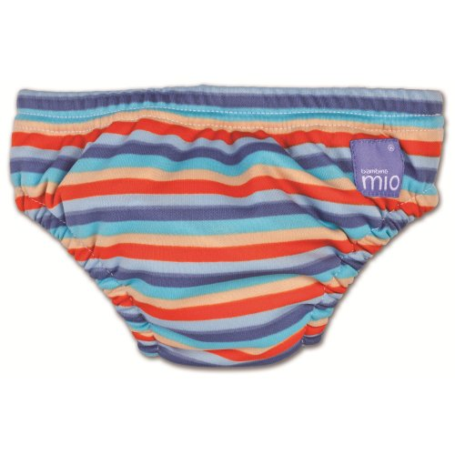 Bambino Mio Swim Nappy Orange Stripe - Small back-603796