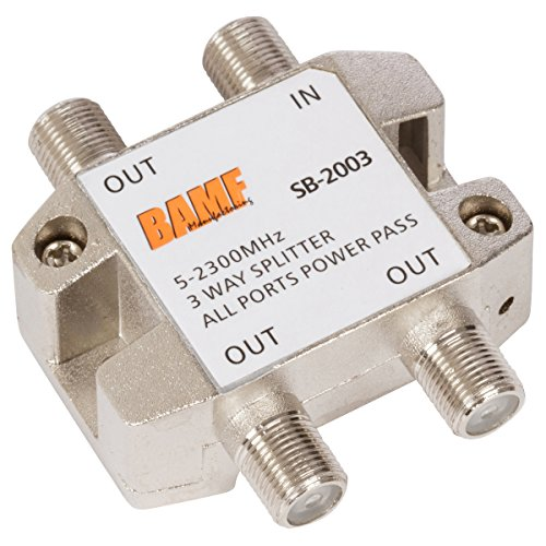 BAMF High Performance Coax Cable Splitter 5-2300MHz All Ports Power Passing Bi-Di MoCa (3-way) image