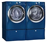 Electrolux IQ Touch Blue Steam Front Load Washer and Steam ELECTRIC Dryer Laundry Set with Pedestals EIFLS55IMB_EIMED55IMB_EPWD15MB