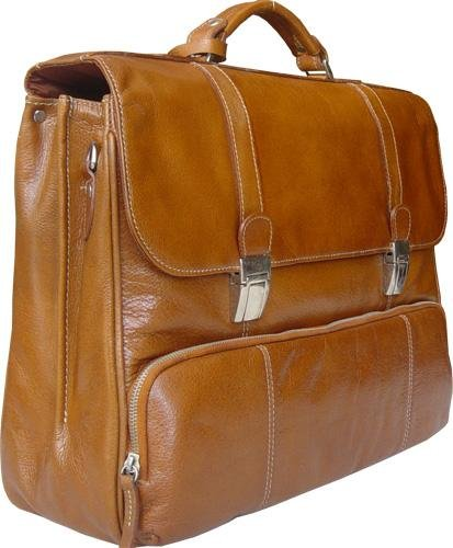 HIDEONLINE HAND CRAFTED TAN/ COGNAC LEATHER BRIEFCASE