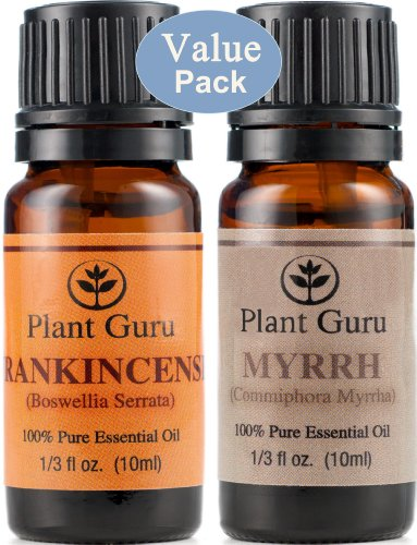 """Frankincense And Myrrh Essential Oil. 10 Ml. 100% Pure, Undiluted, Therapeutic Grade. """"Value Pack"""" 1 Of Each"""