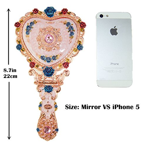 Ivenf Heart Shape Royal Vintage Princess Mirror, Hand-Painted Metal Handheld Mirror, Pink 2