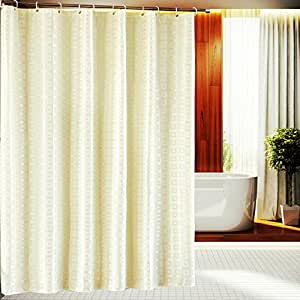 Light Yellow Extra Long Fabric Shower Curtain