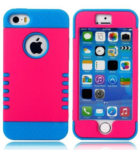 Mylife (Tm) Electric Blue And Hot Magenta - Shield Armour Series (Neo Hypergrip Flex Gel) 3 Piece Case For Iphone 5/5S (5G) 5Th Generation Itouch Smartphone By Apple (External 2 Piece Fitted On Hard Rubberized Plates + Internal Soft Silicone Easy Grip Bum
