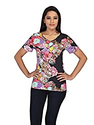 lol Black Color Floral Print Casual Top for women