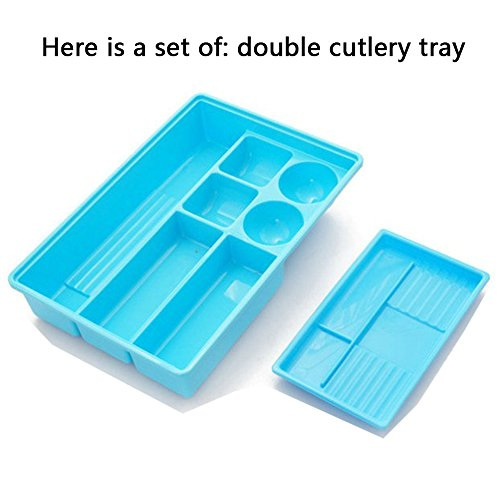Loghot Plastic Multifunction Flatware Drawer Organizer Double Layer Kitchen Cutlery Tray with Non-slip Bottom 12.2x8.3x2.4 in (Blue) (Cutlery Drawer Tray With Cover compare prices)