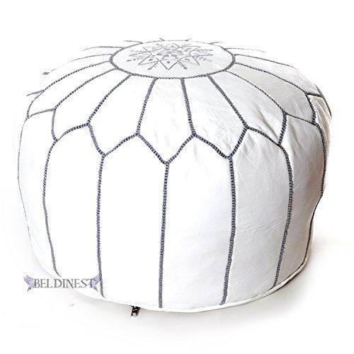 Moroccan White Grey Stitching Leather Poufs Pouffe