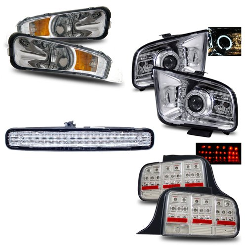 05 09 Ford Mustang Chrome LED Halo Projector Headlights (2010 Style) + Parking Lights + LED 3RD Brake Light + LED Tail Lights Combo
