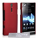 Red Hard Hybrid Back Case Cover For The Sony Ericsson Xperia S LT26i With Screen Protector Film And Grey Micro-Fibre Polishing Clothby Yousave Accessories