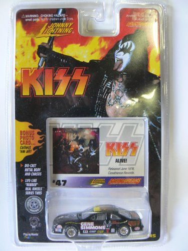 Johnny Lightning Kiss Gene Simmons Stock Car with Card #47 Kiss Alive - 1