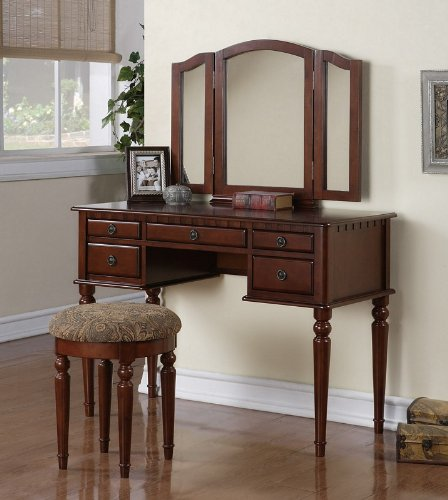 Vanity and Stool Set with Foldout Mirror in Cherry Finish