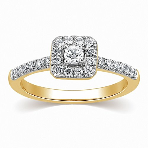0.58 Carat Halo Diamond Wedding Ring with Round cut Diamond on 14K Yellow gold