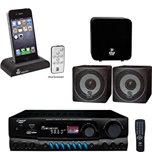 Pyle Stereo Receiver, Subwoofer, Speaker and Dock Package - PT560AU 300 Watts Digital AM/FM/USB Stereo Receiver - PIDOCK1 Universal iPod/iPhone Docking Station For Audio Output Charging - Sync W/iTunes And Remote control - PCB3BK 3'' 100 Watt Black Mini Cube Bookshelf Speaker In Black (Pair) - PDSB12A 12-Inch 150 W Active Powered Subwoofer For Home Theater