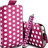 Gadget Giant Hot Pink Polka Dots PU Leather Pull Tab Protective Pouch Case Cover & Capacitive LCD Touch Screen Stylus For LG KP501 Cookie
